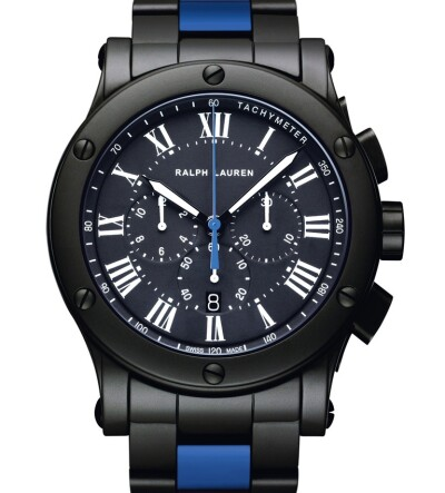 45 mm Chronograph Model - Black Matte Ceramic - Blue Racing Stripe